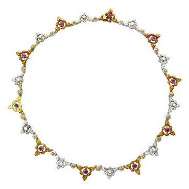 image of Mario Buccellati 18k Gold Diamond Ruby Necklace