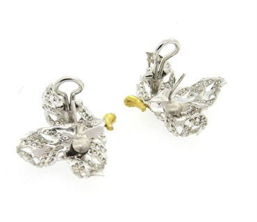 image of Buccellati 2.40ctw Diamond 18k Gold Large Leaf Earrings