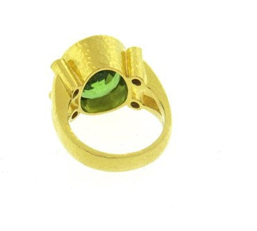 thumbnail image of Elizabeth Locke 19k Gold Peridot Purple Spinel Ring