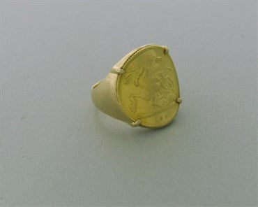 thumbnail image of Fred Paris 18K Gold 1897 British Sovereign Coin Ring