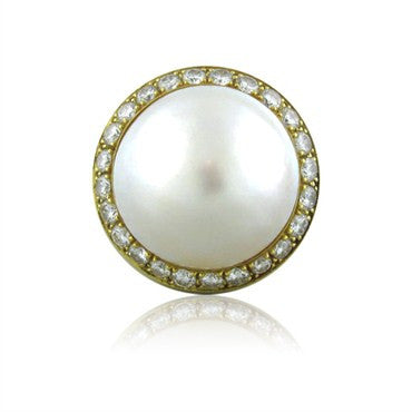 image of Tambetti 18K Yellow Gold 1.25ctw Diamond Mabe Pearl Cocktail Ring