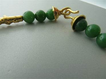 thumbnail image of Jean Mahie 22k Gold Nephrite Bead Necklace
