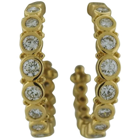 Temple St. Clair Diamond 18k Gold Eternity Hoop Earrings