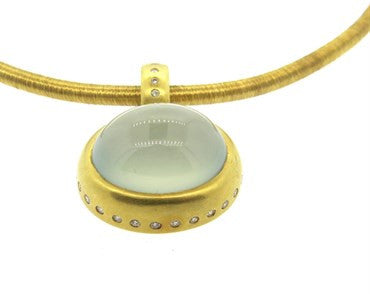 thumbnail image of Chalcedony Cabochon Diamond Gold Pendant Necklace