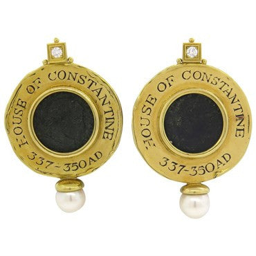 image of Large Elizabeth Gage Ancient Coin Diamond Pearl Gold Earrings