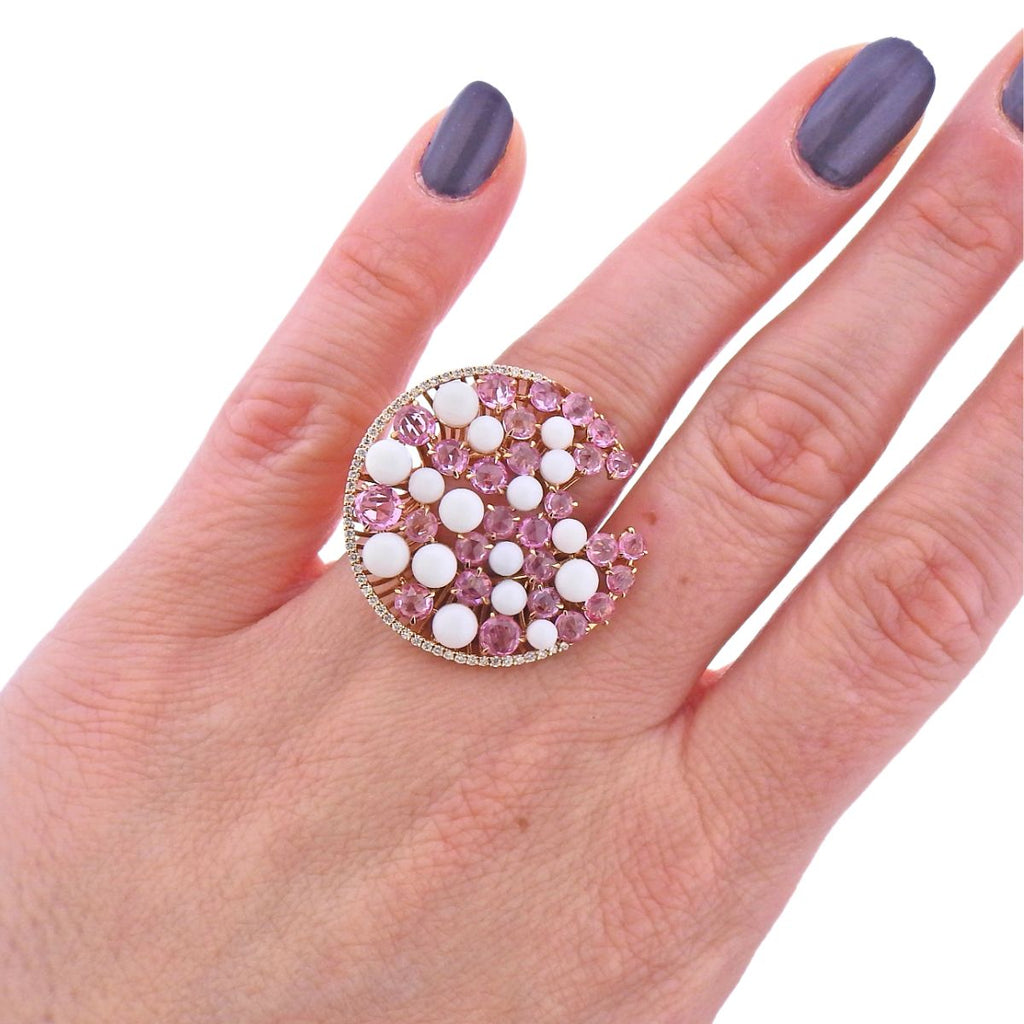 thumbnail image of Giovanni Ferraris 18k Rose Gold Coral Sapphire Diamond Ring