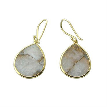 thumbnail image of New Ippolita 18k Gold White Calcite Bronze Matrix Teardrop Earrings