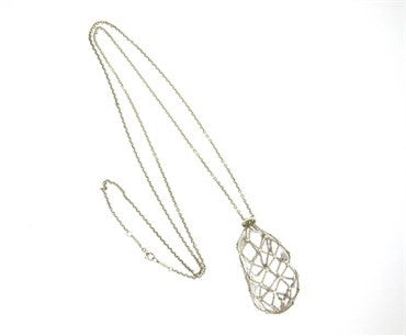 thumbnail image of Tiffany & Co. Elsa Peretti Crystal Sterling Diamond Caged Bean Pendant