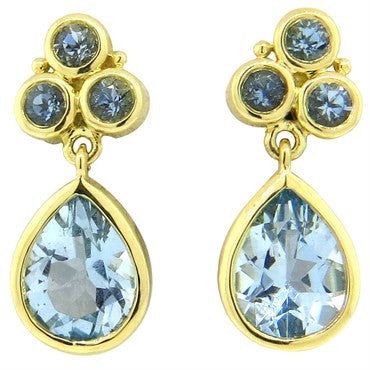 thumbnail image of Temple St. Clair Aquamarine Drop 18K Gold Earrings