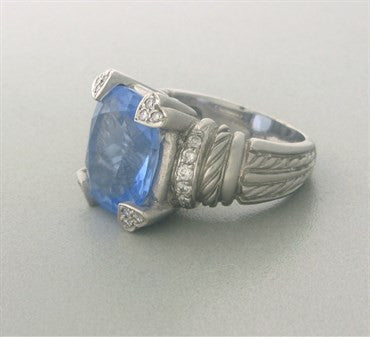thumbnail image of Judith Ripka Lola 18K Gold Diamond Blue Quartz Ring