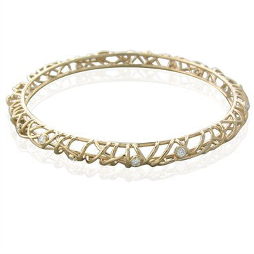 thumbnail image of New Hearts On Fire 18K Gold 1.09ctw Diamond Brocade Bangle Bracelet