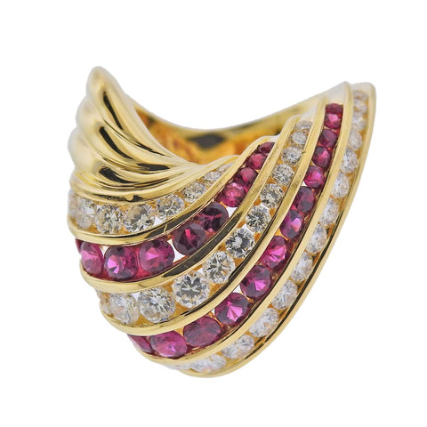 image of 18k Gold Ruby Diamond Cocktail Ring