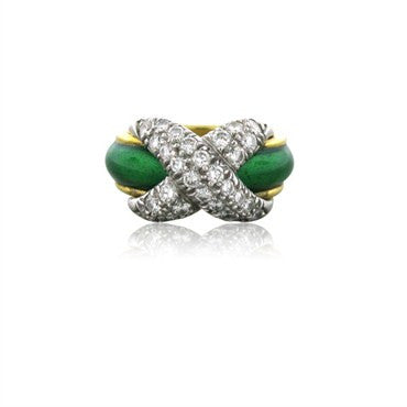thumbnail image of Tiffany & Co Jean Schlumberger Pave X Diamond Platinum 18k Gold Ring