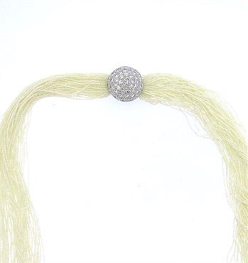 thumbnail image of Stunning Seed Pearl Multi Strand Necklace Diamond Gold Clasp