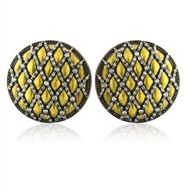 thumbnail image of New Gurhan Capitone Collection 24K Gold 1.78ctw Diamond Round Earrings