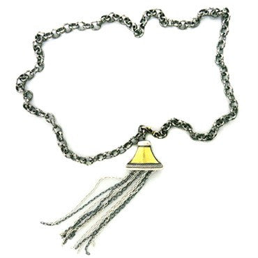 thumbnail image of Gurhan Sterling Blackened Silver 24k Gold Tassel Chain Necklace