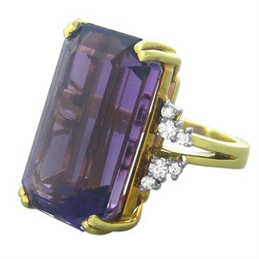 thumbnail image of Estate H. Stern 18K Gold Platinum Diamond 30ct Amethyst Ring