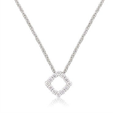 image of New Hearts On Fire Whimsical Mini Square Diamond Pendnat Necklace