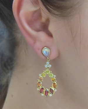 image of Temple St. Clair Anima Cluster Sapphire Diamond Drop Earrings