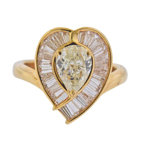 image of 18k Gold 1.26ct Pear Diamond Cocktail RIng