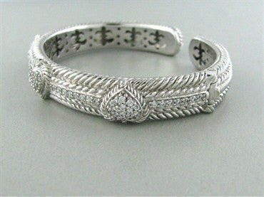 image of Judith Ripka Sterling Silver CZ Heart Bangle Bracelet