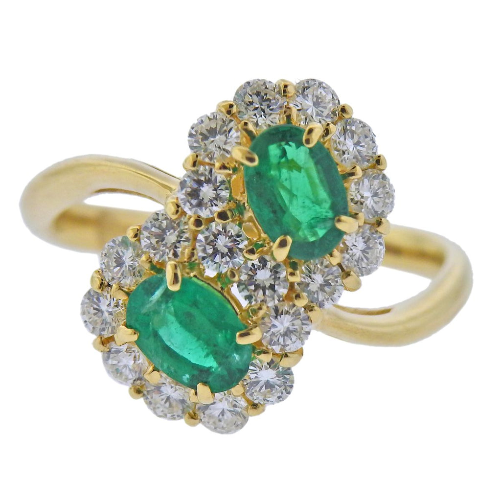 thumbnail image of 18k Gold Diamond Emerald Bypass Ring