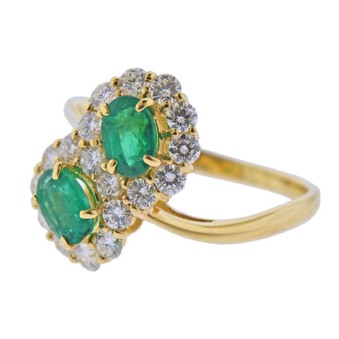 image of 18k Gold Diamond Emerald Bypass Ring