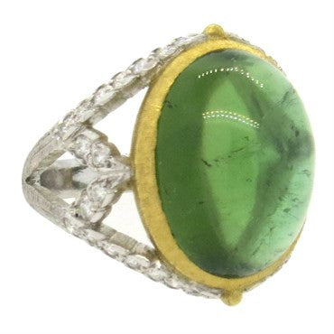 image of Buccellati Syphony Green Tourmaline Diamond 18k Gold Ring