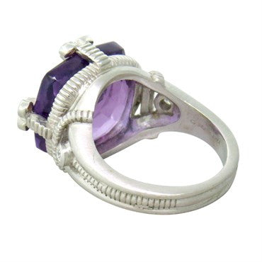 thumbnail image of Judith Ripka 18k Gold Diamond Amethyst Ring