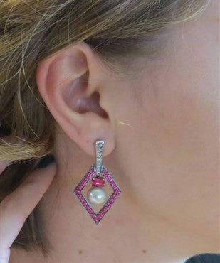 thumbnail image of John Hardy Cinta Pearl Pink Spinel Diamond 18k Gold Drop Earrings