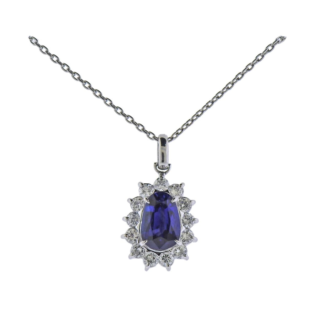 thumbnail image of Certified 1.77ct Ceylon Sapphire Diamond Platinum Necklace