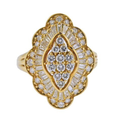 image of 18k Gold 1.36ctw Diamond Cocktail Ring
