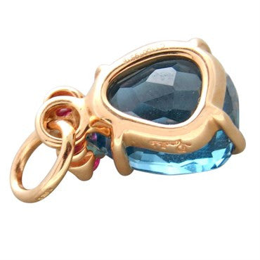 thumbnail image of New Pomellato Bahia 18k Gold Blue Topaz Gemstone Charm Pendant