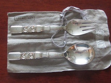 image of Estate Georg Jensen Scroll Sterling Serving Set 2pc