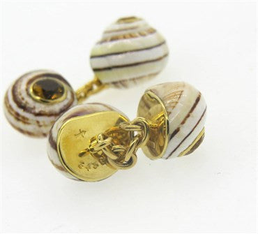 thumbnail image of Trianon Shell Citrine 18k Gold Cufflinks