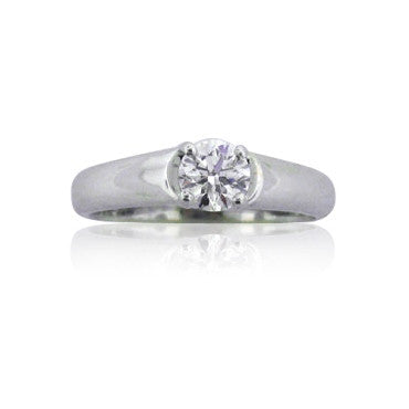 image of Ideal Cut Hearts On Fire 0.50ct Diamond Engagement Ring