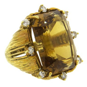 image of 1960s Large 23ct Citrine Diamond 18k Gold Ring