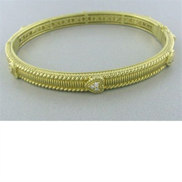thumbnail image of Judith Ripka Romance Pave Diamond Heart Bangle Bracelet