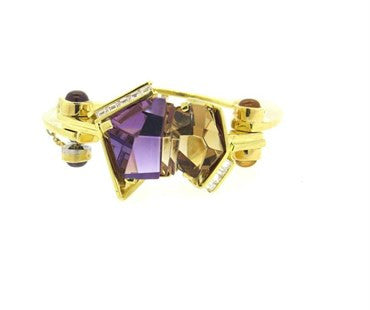 thumbnail image of Unusual Modernist Amethyst Diamond Citrine 18k Gold Bangle Bracelet