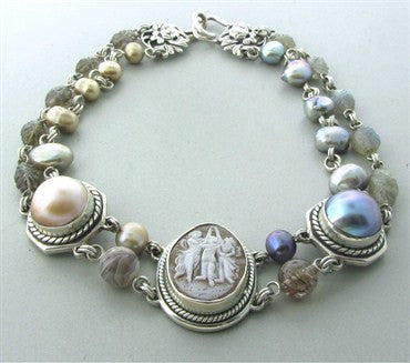 thumbnail image of Stephen Dweck Sterling Silver Cameo Gemstone Pearl Choker Necklace