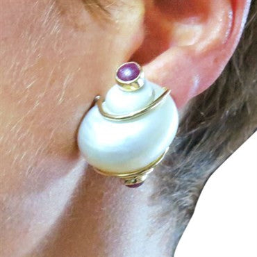 thumbnail image of Seaman Schepps Shell Ruby Gold Earrings