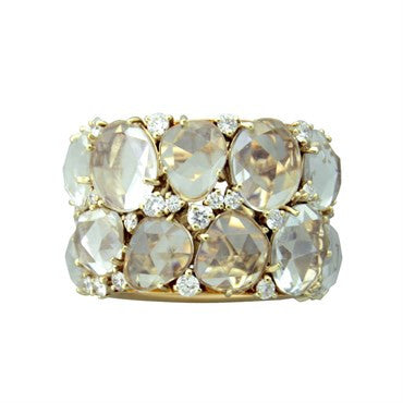 image of New Pomellato Lulu 18K Gold Diamond Topaz Ring
