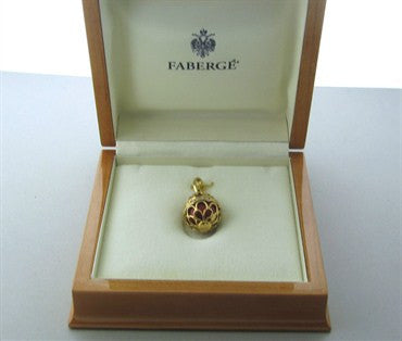 thumbnail image of Faberge 18K Yellow Gold Diamond Red Enamel Egg Charm Pendant