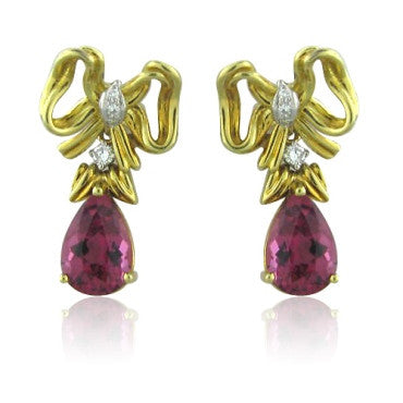 image of Tiffany & Co 18k Gold Diamond Tourmaline Drop Earrings