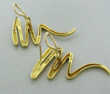 image of Vintage Tiffany & Co Elsa Peretti 18k Gold Large Zig Zag Earrings