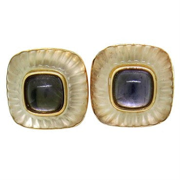 image of Vintage Trianon Carved Crystal Gemstone 14k Gold Earrings