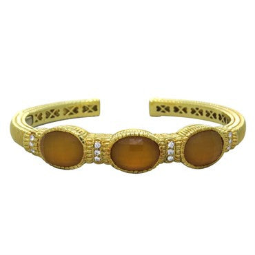 thumbnail image of Judith Ripka 18K Gold Gemstone Diamond Cuff Bracelet