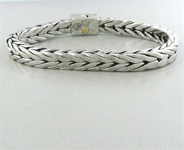 thumbnail image of Estate John Hardy Sterling Silver 18K Gold Diamond Mens Bracelet