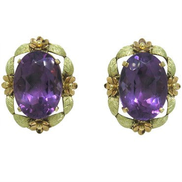 thumbnail image of Estate 18k Gold Amethyst Earrings