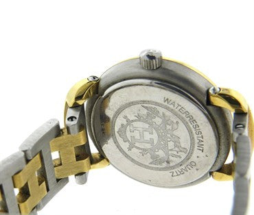 thumbnail image of Hermes Gold Tone Stainless Steel Clipper Two Tone Wristwatch